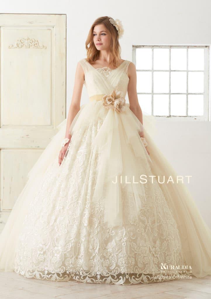 9acbe4c7bfe33  ジルスチュアート ウエディングドレス*大人女子に人気の贅沢なレース柄ドレス