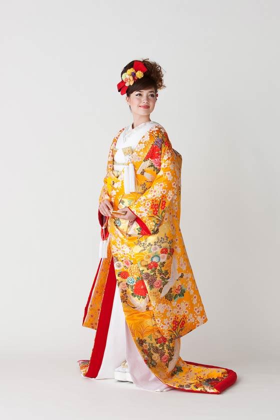 色打掛 鶴に桜花紋