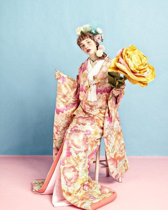 色打掛 慶薫-ピンク水色