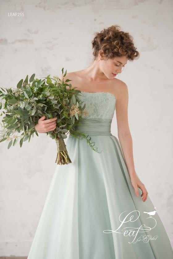 【リーフフォーブライズ】カラードレス*可愛さ満載のブルーグリーンのカラードレス