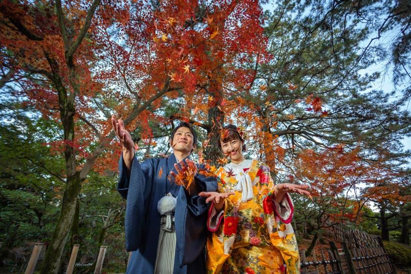 日本庭園 紅葉 結婚式写真